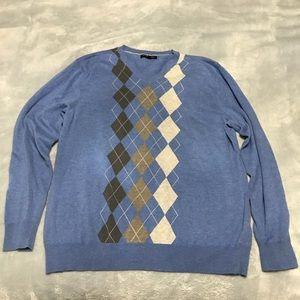 Banana Republic Soft Blue Argyle Sweater V Neck